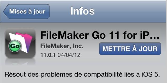 Mise à jour FileMaker Go